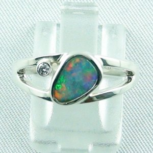 3.79 gr opalring, ladies ring, silverring with semi black opal 1.06 ct, pic 1