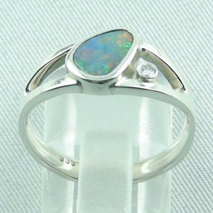 3.79 gr opalring, ladies ring, silverring with semi black opal 1.06 ct, pic 4