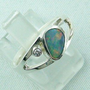 3.79 gr opalring, ladies ring, silverring with semi black opal 1.06 ct, pic 6
