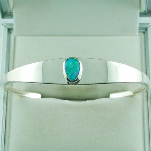 28.81 gr opalbangle, silver bangle with Black Crystal Opal 1.86 ct, pic1