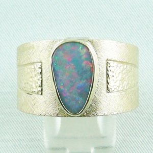 22,56 gr Opalring 18k Semi Black Opal 2,34 ct Herrenring