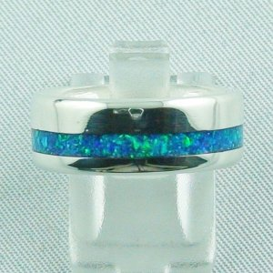 silverring with opal inlay ocean blue, opalring 7,42 gr, ladies ring