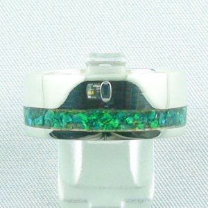 Opal Inlay Emerald Green Silberring, 11,57 gr Herrenring