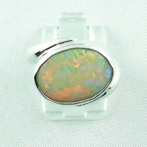 6.33 gr opalring, silverring with white opal, ladies ring