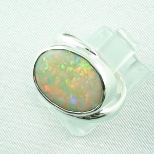 6.33 gr opalring, silverring with white opal, ladies ring, pic2