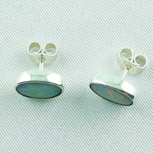 2.34 gr white opal ear studs, earrings 935 silver with whiteopals