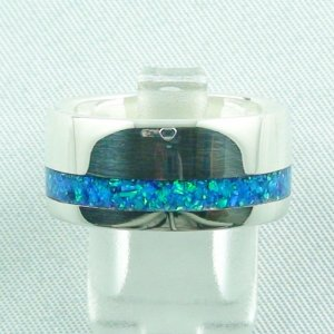 opal inlay silverring ocean blue, opalring 9.82 gr, ladies ring
