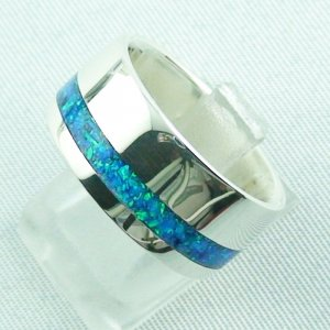 silverring with opal inlay ocean blue, opalring 9.82 gr, ladies ring, pic2