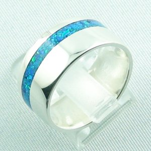 silverring with opal inlay ocean blue, opalring 9.82 gr, ladies ring, pic3