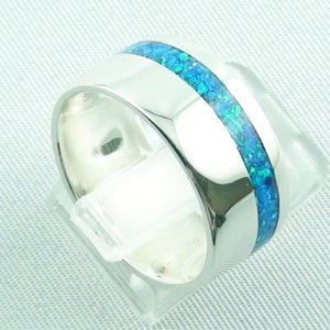 silverring with opal inlay ocean blue, opalring 9.82 gr, ladies ring, pic5