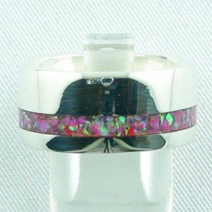 Silberring mit Opal Inlay Hot Pink, Opalring 9,66 gr, Damenring