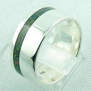 silverring with opal inlay Black Flame, opalring 10.77 gr, ladies ring, pic3