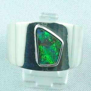 14.75 gr opalring, silverring with boulder opal 1.68 ct, men's ring