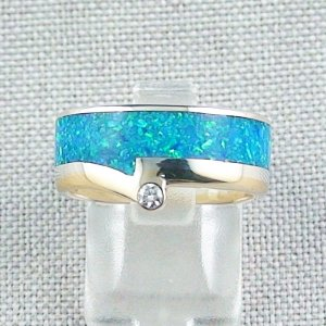 Silberring, Opal Inlay Ozean Blau, 18k Goldrand, Diamant