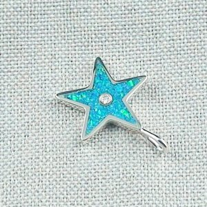 1,62 gr Opal Inlay Star-Pendant, Diamond, Silver Pendant, pic3