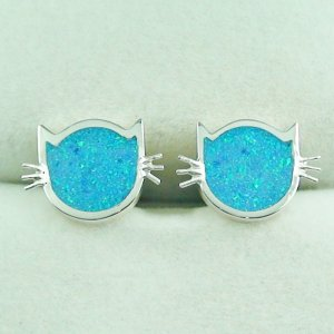 3.58 gr Opal Inlay Silver Ear Studs, Cat Earrings