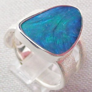 ❤️15.34 gr Opalring, Silverring with Black Opal 1,20 ct, Men's Ring, pic5