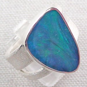 ❤️15.34 gr Opalring, Silverring with Black Opal 1,20 ct, Men's Ring, pic6