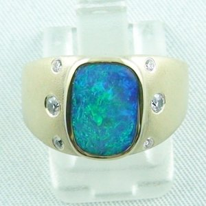 10,91 gr. Opalring, 14k Goldring, Herrenring, Black Opal, Diamanten