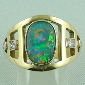 11.96 gr opalring, 14k or 585 goldring with 2.70 ct Black Opal men's ring
