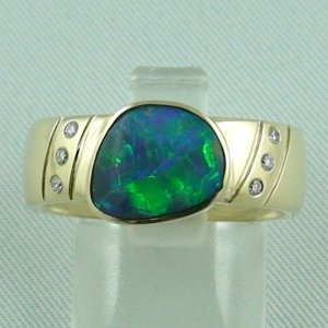 Herrenring / Damenring 585er Goldring 14k mit 1,50 ct Opal u. Diamanten zus. 0,06 ct