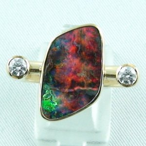 Herrenring / Damenring 750er Goldring 18k mit 9,45 ct Opal u. Diamanten zus. 0,31 ct