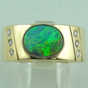 20.64 gr. opalring, 14k or 585 goldring with 1.27 ct black opal men's ring