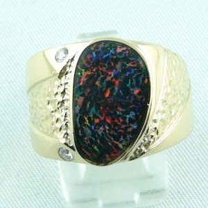 21.30 gr. opalring, 18k / 750 goldring with 3.82 ct boulder opal
