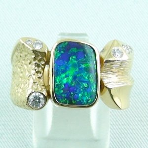 Herrenring / Frauenring 750er Goldring 18k mit 5,52 ct Opal u. Diamanten zus. 0,29 ct