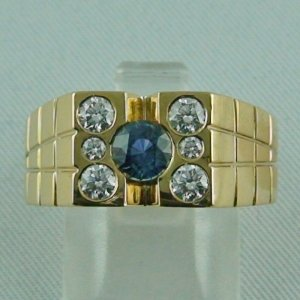 14.81 gr men's ring, goldring 18k with 0.78 ct sapphire and diamonds