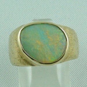 Herrenring / Damenring 585er Goldring 14k mit 4,03 ct Semi Black Opal