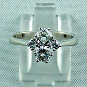 Damen Brilliant Weiss-Goldring 18 k mit 4 Diamanten zus. ca. 1 carat