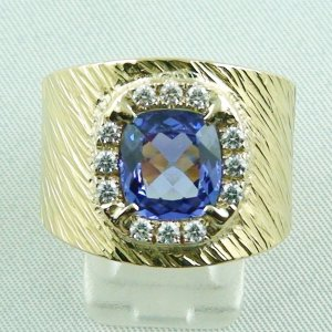 Tanzanite men's ring, 750 or 18k yellow gold ring 23.96 gr