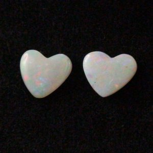 2 x White Opal Heart Gemstones 3.08 ct and 2.89 ct