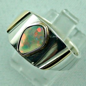 opalring, 11.10 gr goldring silverring with white opal 1.40 ct, pic2