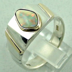 opalring, 11.10 gr goldring silverring with white opal 1.40 ct, pic3