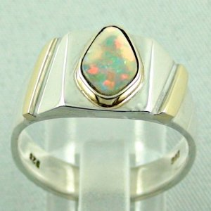 opalring, 11.10 gr goldring silverring with white opal 1.40 ct, pic4