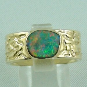 14.73 gr. opalring, 14k or 585 goldring with 1.25 ct Black Opal men's ring
