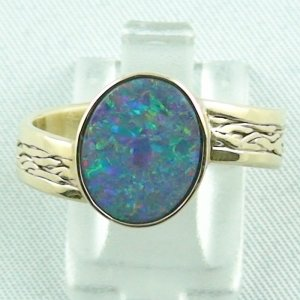 6.00 gr. opalring, 14k or 585 goldring with 1.48 ct black opal, men's ring