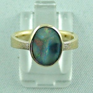 4.06 gr. opalring, 14k gold ring with opal, 1.49 ct semiblackopal