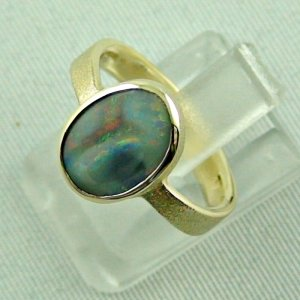 4.06 gr. opalring, 14k gold ring with opal, 1.49 ct semiblackopal, pic2