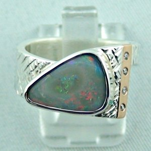 3.95 ct opalring, 9.02 gr silverring, semi black opal, ladies ring