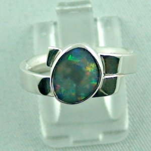 opalring, 4.69 gr silverring semi black opal 0.93 ct ladies ring