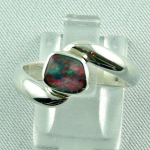 3.73 gr Opalring, Silberring mit Black Opal 0.67 ct