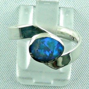 opalring, 3.72 gr silverring with black opal 0.89 ct, ladies ring