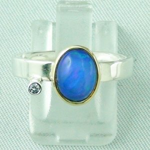 4.66 gr opalring, silver ring women with Welo Opal 1.23 ct