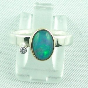 4.23 gr opalring, silver ring women with Welo Opal 1.00 ct