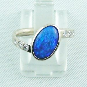 Palladium Weißgoldring 18k mit Top GEM Black Crystal Opal 1,29 ct u. Diamanten zus. 0,18 ct