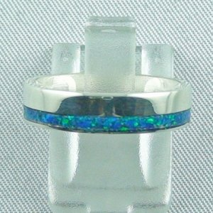 silverring with opal inlay ocean blue, opalring 4,21 gr. bandring