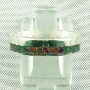 silverring with opal inlay black flame, opalring 3.80 gr. bandring